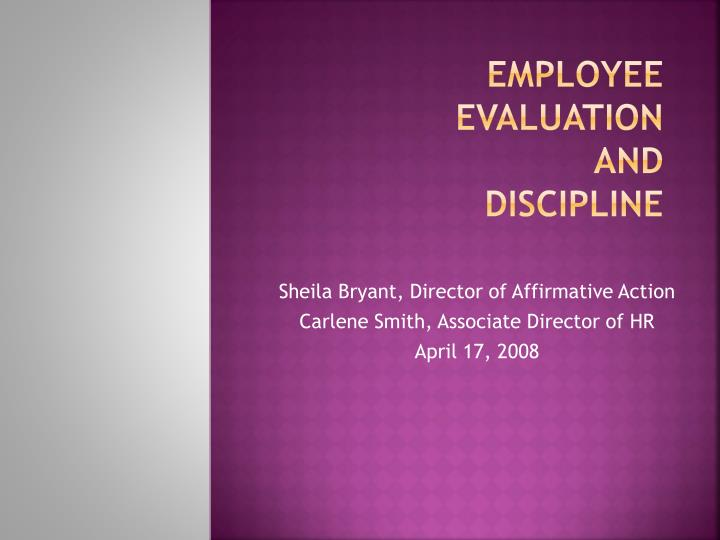 employee evaluation and discipline n.