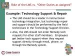 role of the lms vs other duties as assigned17
