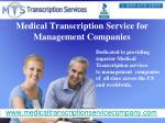 medical transcription service for management companies