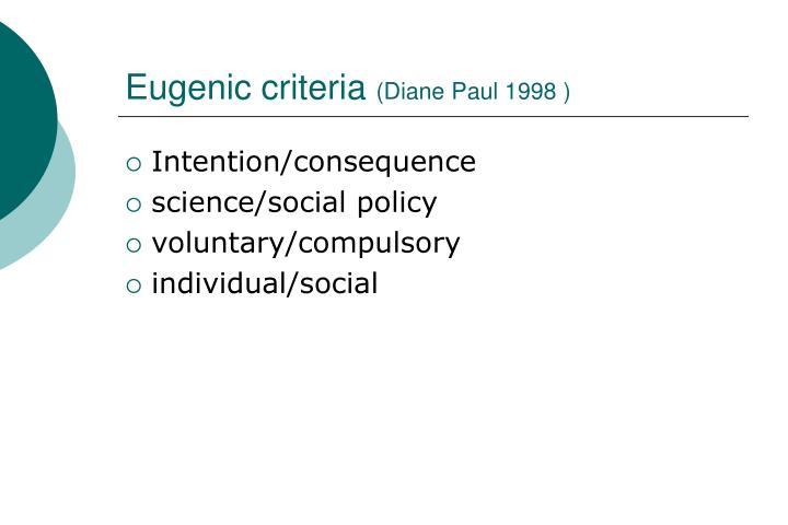 Eugenic criteria diane paul 1998