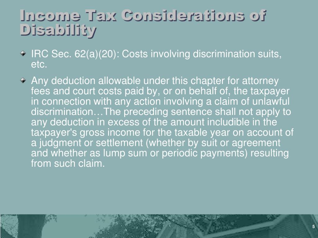 Income Tax Considerations of Disability