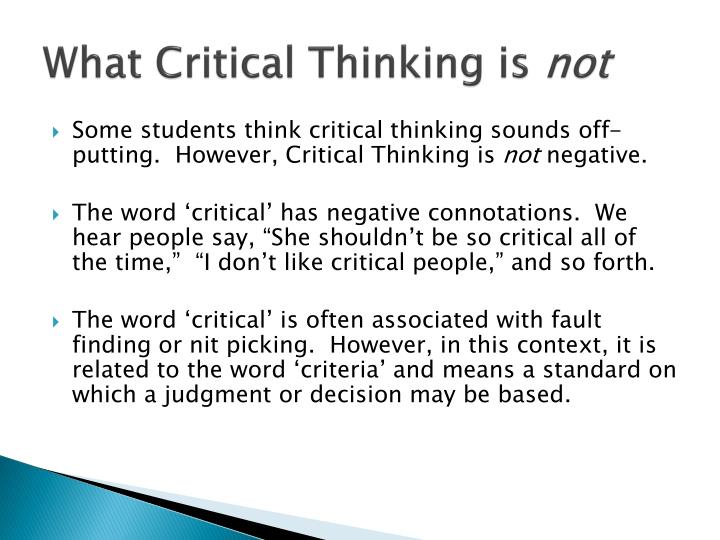 critical thinking powerpoint for students 6 recognizing and recalling activities to begin thinking critically, students must first learn to recognize and recall key information these skills are important for the mastery of higher-level skills.