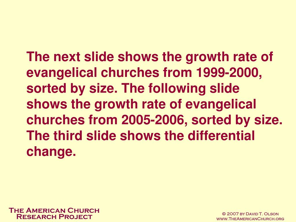 The next slide shows the growth rate of evangelical churches from 1999-2000, sorted by size. The following slide shows the growth rate of evangelical churches from 2005-2006, sorted by size. The third slide shows the differential change.