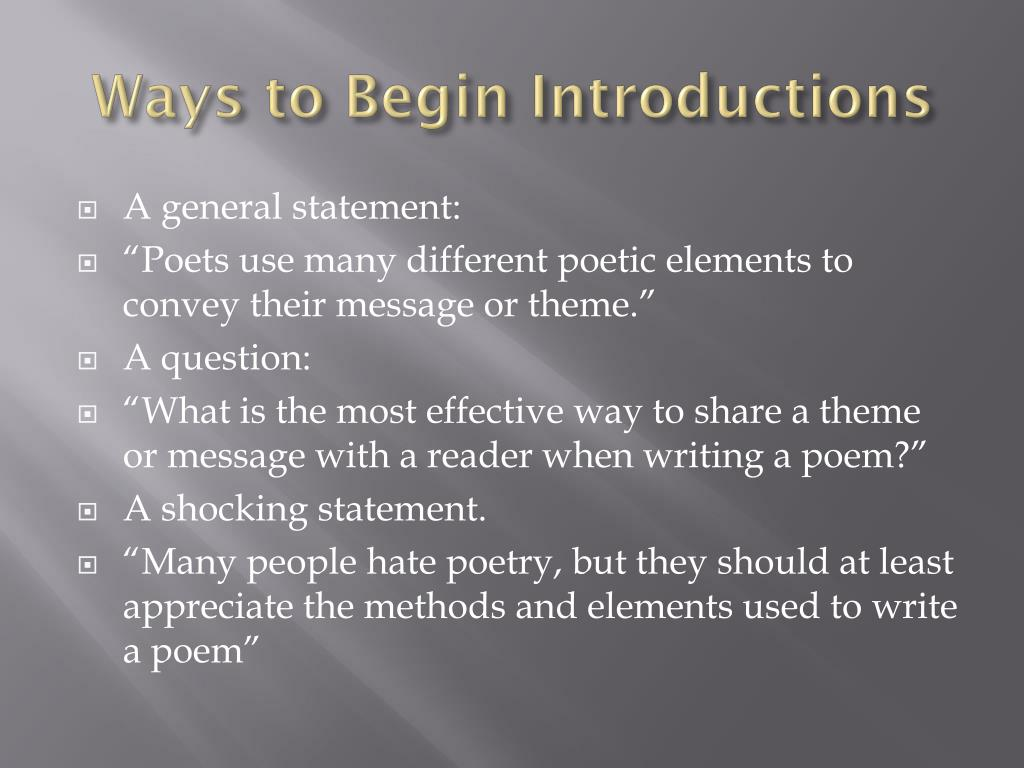 Ways to Begin Introductions
