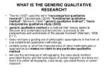 what is the generic qualitative research