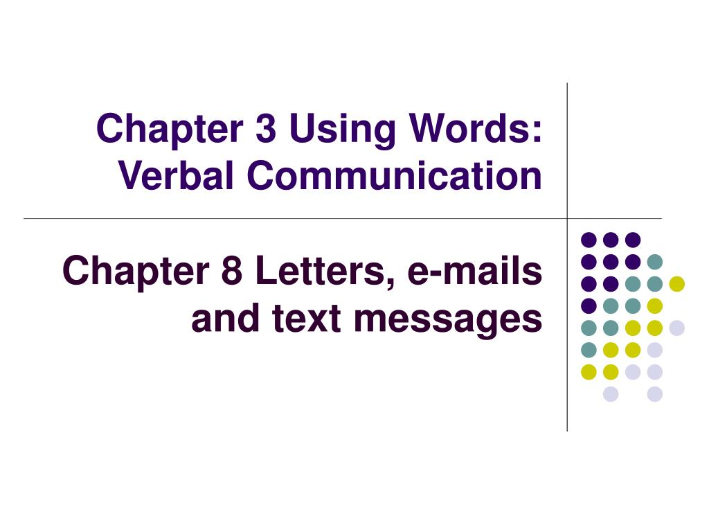 chapter 3 using words verbal communication l.