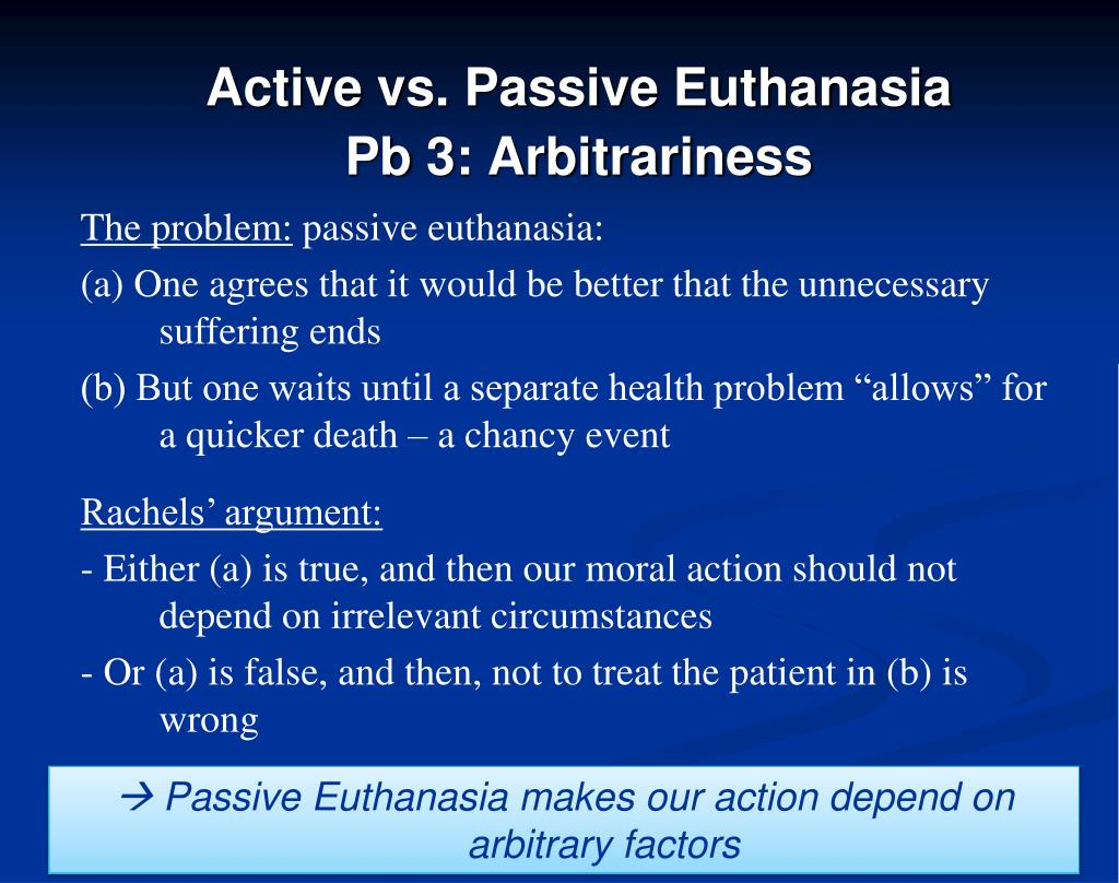 active and passive euthanasia essays Euthanasia: a critical analysis when life becomes so burdensome, death is for man a sought after refuge1 the issue of euthanasia is.
