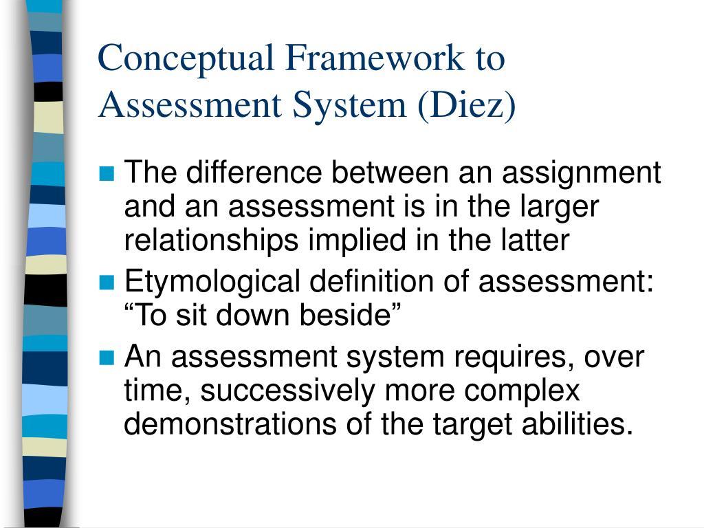 Conceptual Framework to Assessment System (Diez)