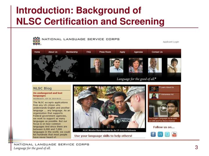 Introduction background of nlsc certification and screening