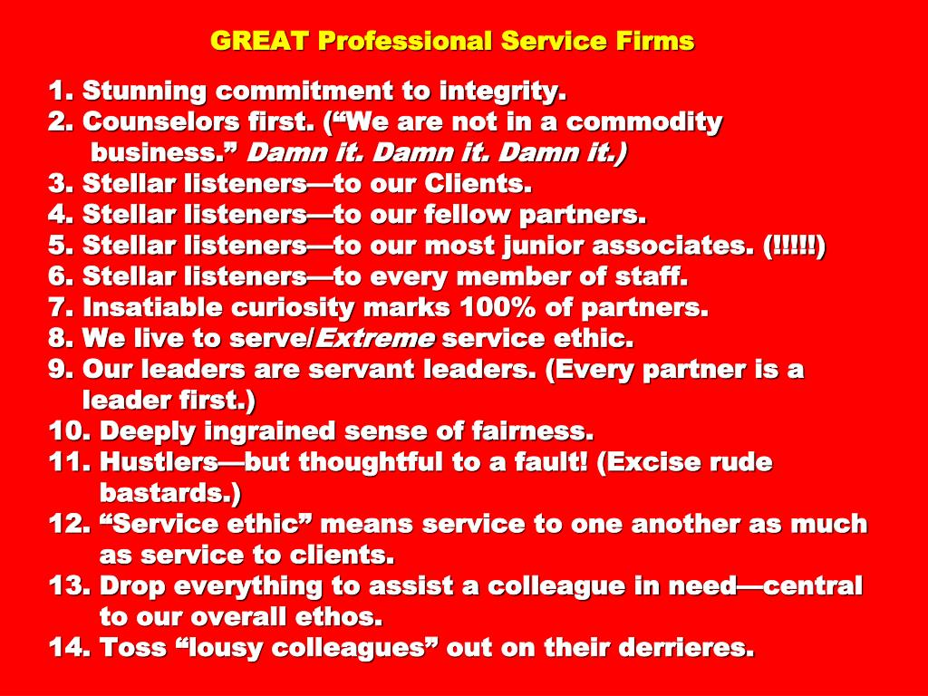 GREAT Professional Service Firms