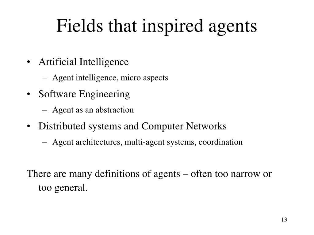 Fields that inspired agents