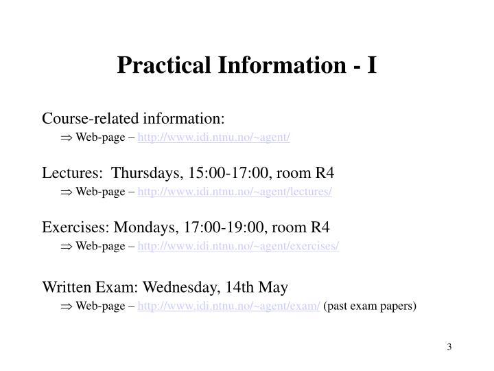 Practical information i