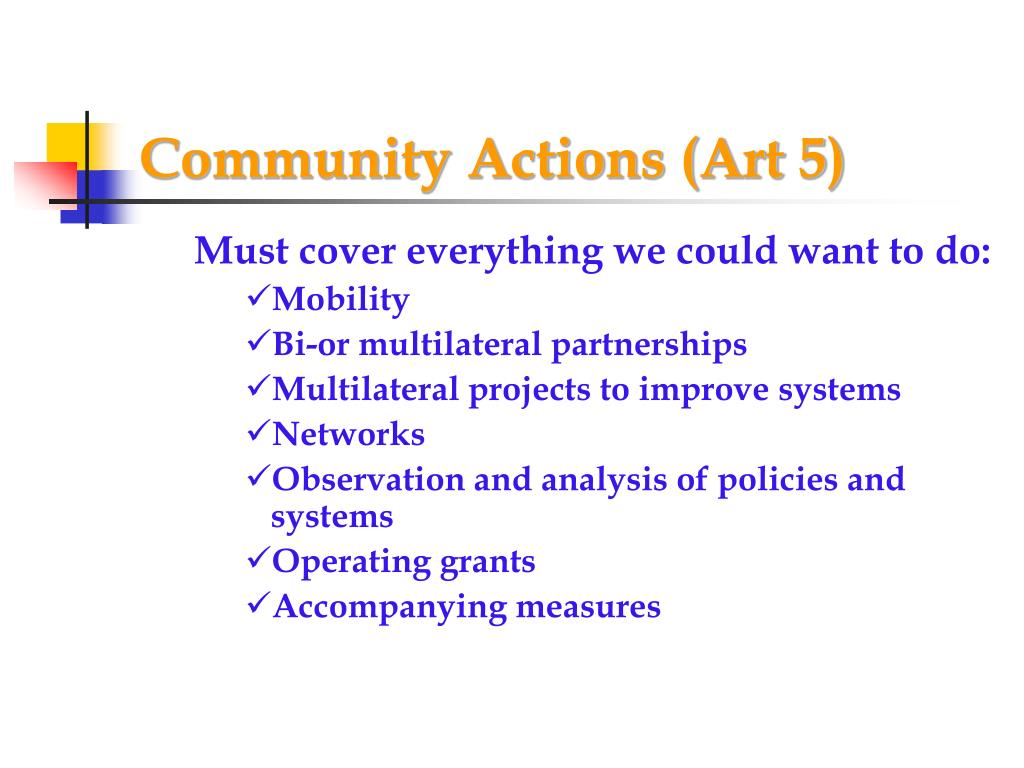 Community Actions (Art 5)