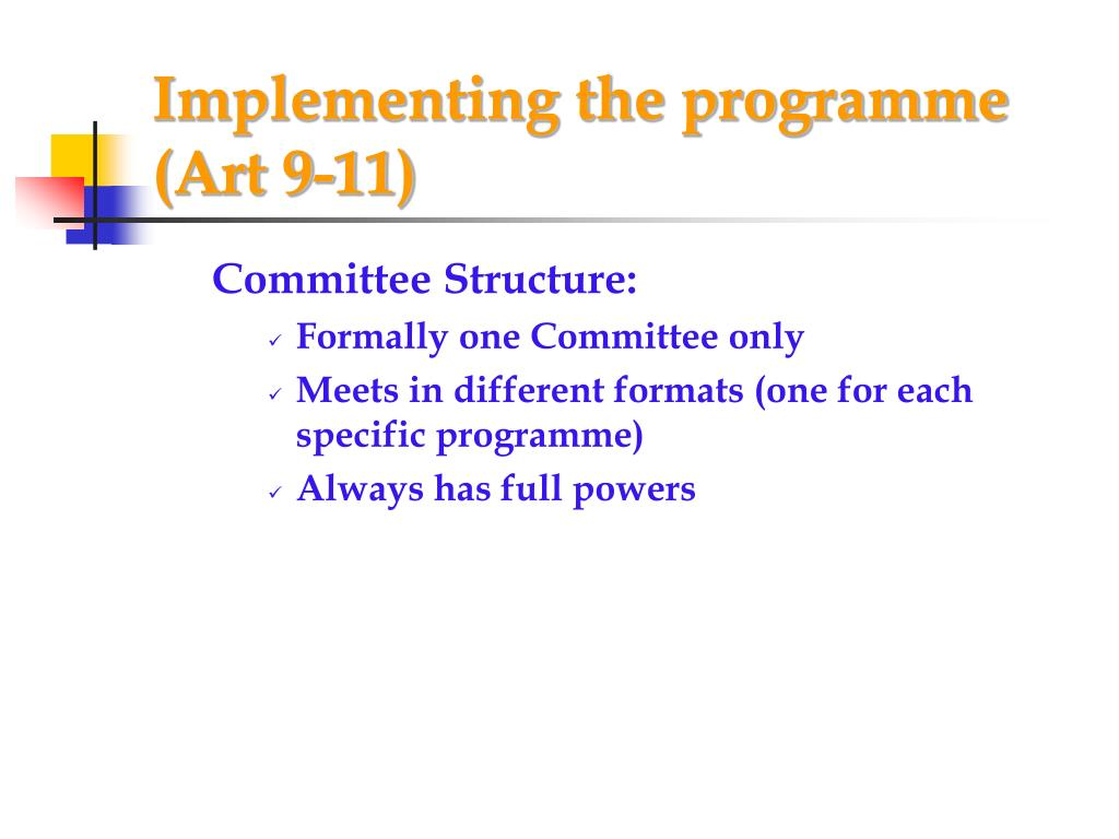 Implementing the programme