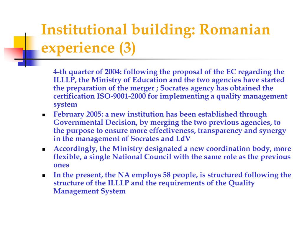 Institutional building: Romanian experience (3)