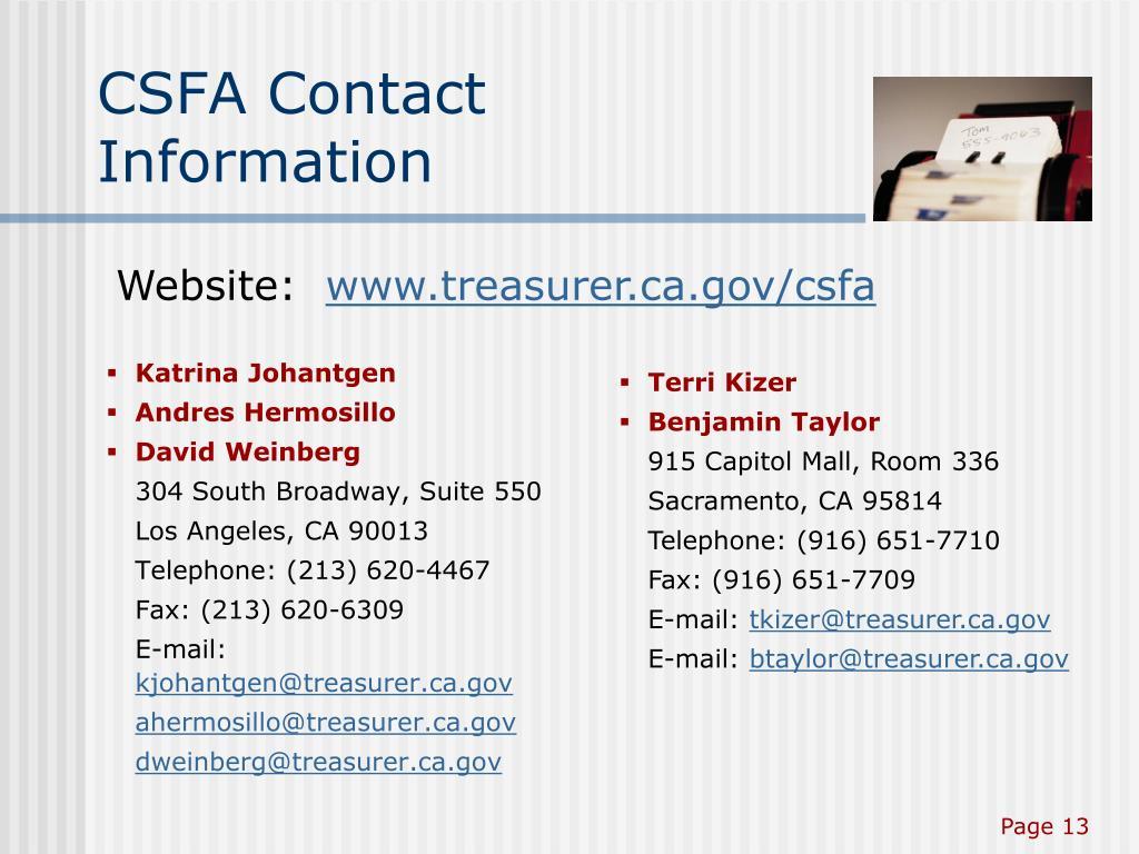 CSFA Contact Information