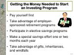 getting the money needed to start an investing program
