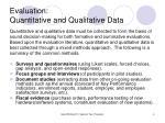 evaluation quantitative and qualitative data