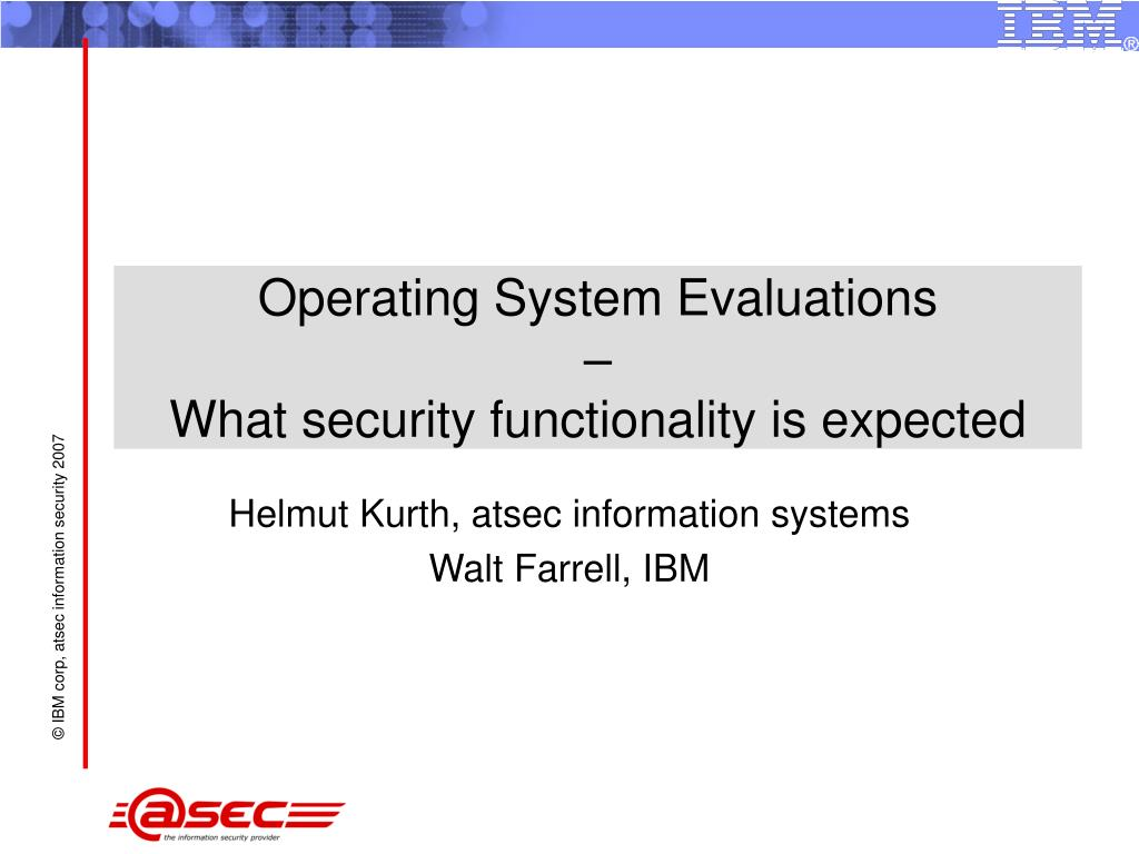 operating system evaluations what security functionality is expected l.