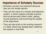 importance of scholarly sources