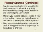 popular sources continued