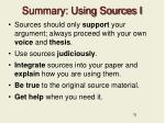 summary using sources i