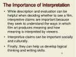 the importance of interpretation