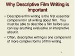 why descriptive film writing is important