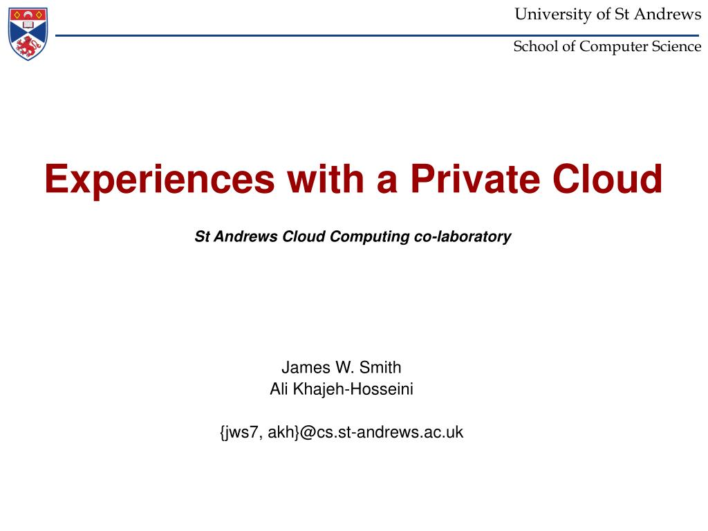 experiences with a private cloud l.