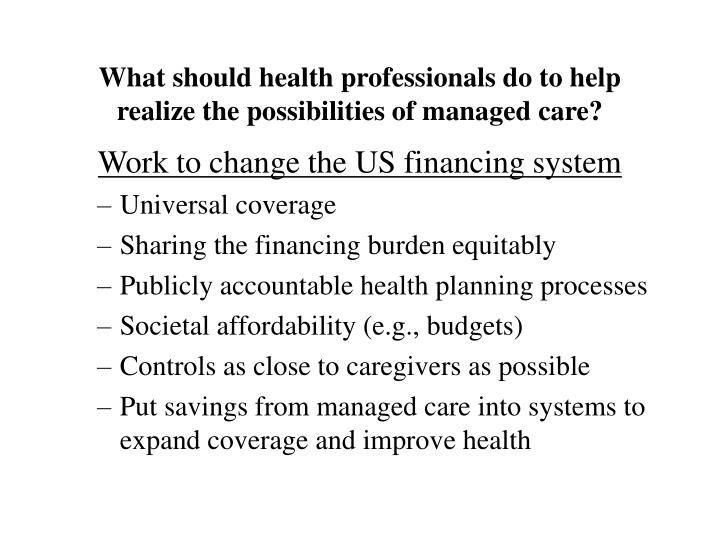 assignment 3: the implications of managed care on the u.s. healthcare system Leveraging ai to match treatments and care management to individual members is the future of healthcare plans total healthcare spending in the us has reached $35 trillion with costs now representing 18 percent of the gdp and no slowdown in sight.