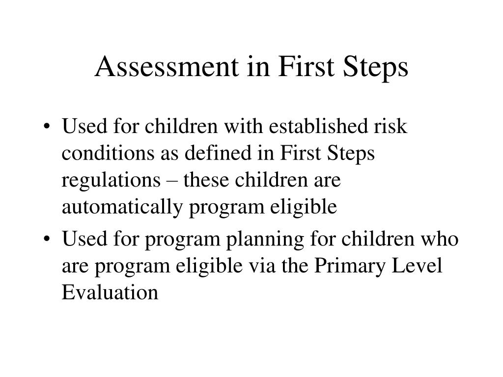 Assessment in First Steps