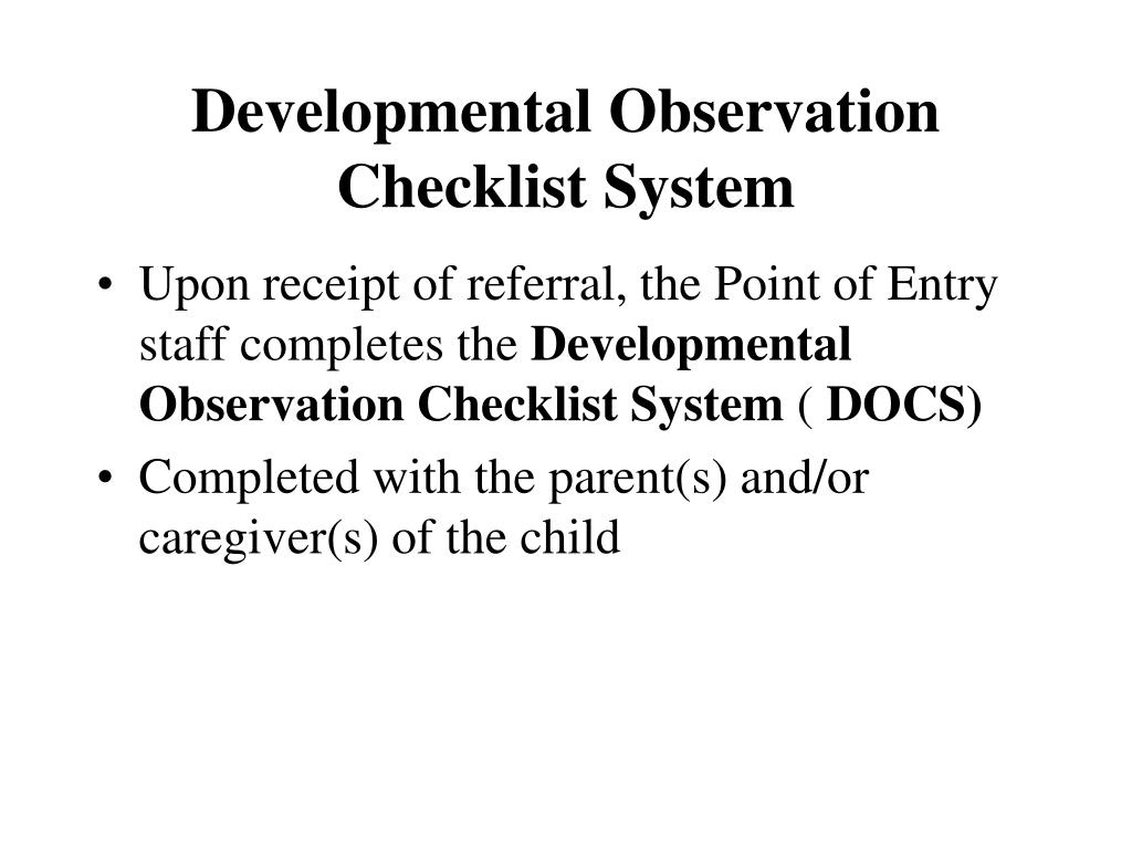 Developmental Observation Checklist System