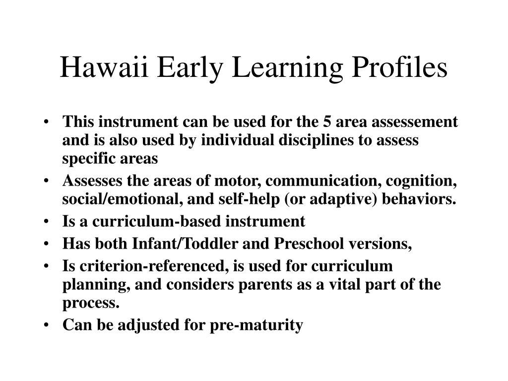 Hawaii Early Learning Profiles