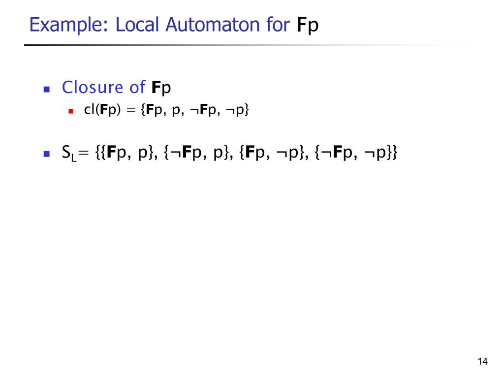 Example: Local Automaton for