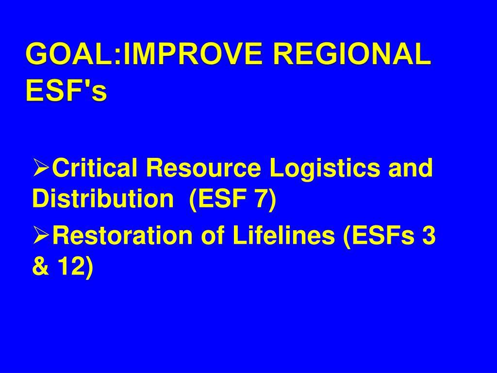 GOAL:IMPROVE REGIONAL ESF's