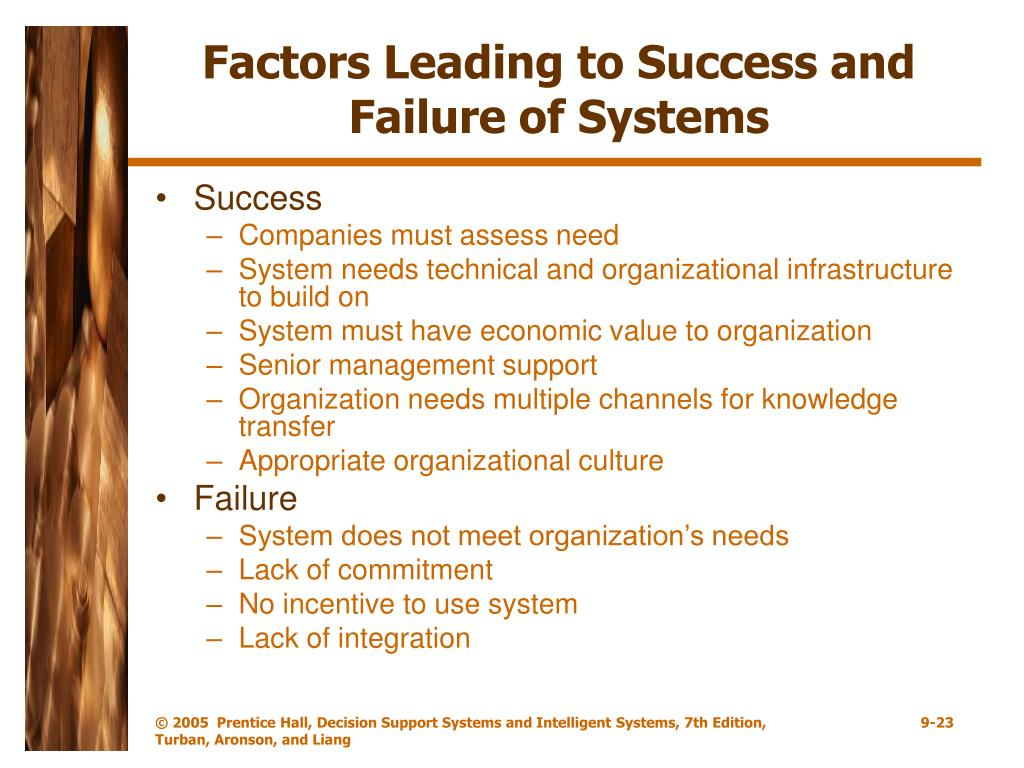 Factors Leading to Success and Failure of Systems