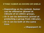 ethnic humor as sword or shield