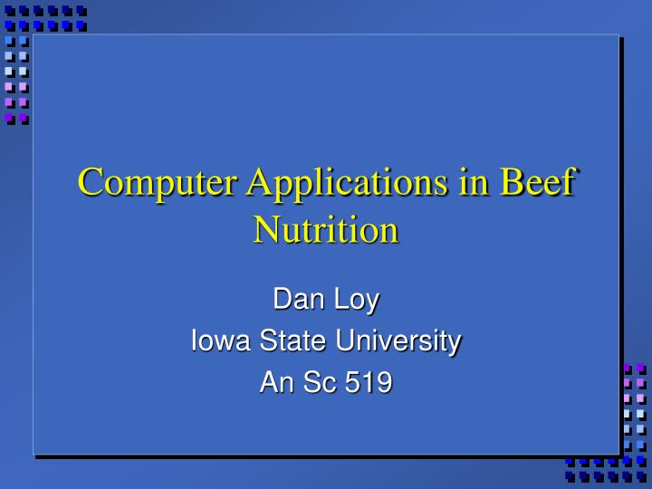 computer applications in beef nutrition n.