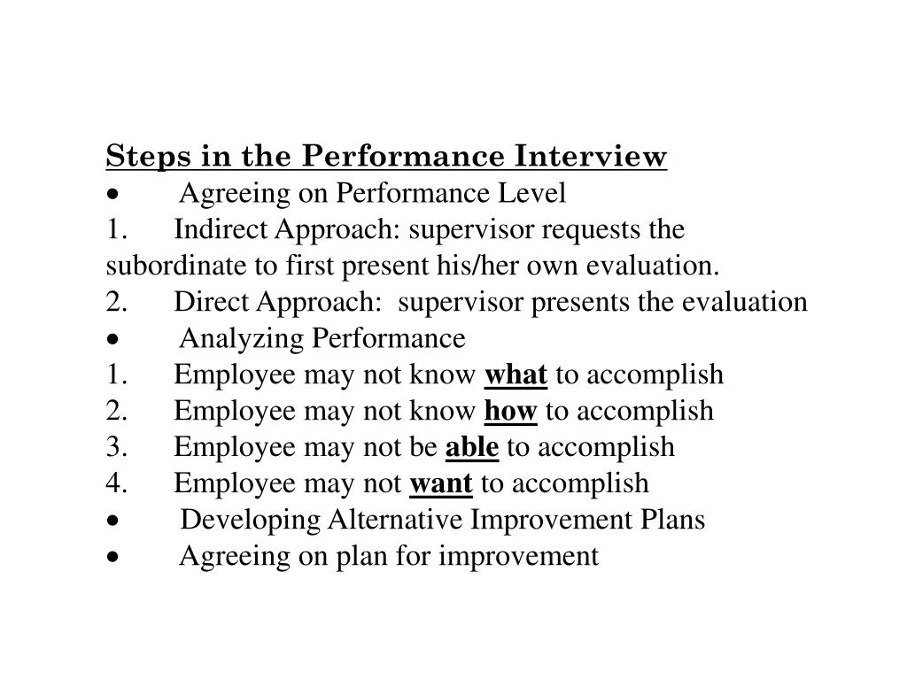 Steps in the Performance Interview