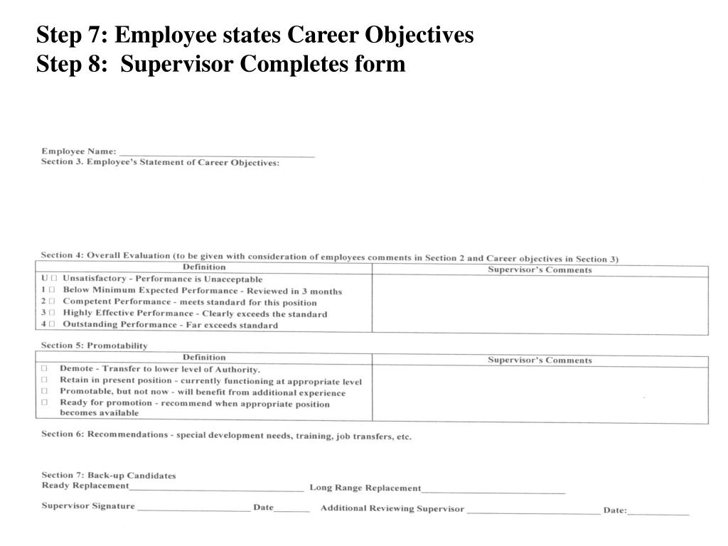 Step 7: Employee states Career Objectives