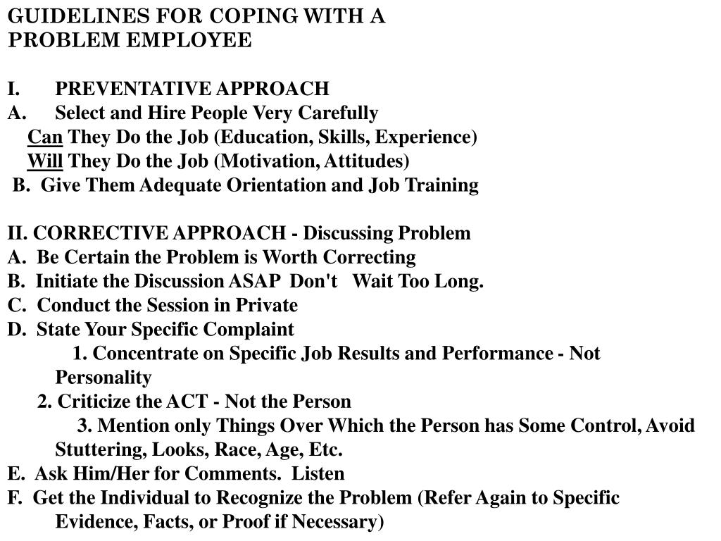 GUIDELINES FOR COPING WITH A