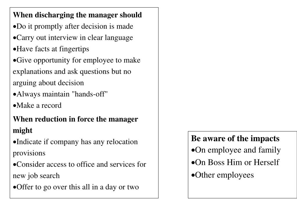 When discharging the manager should