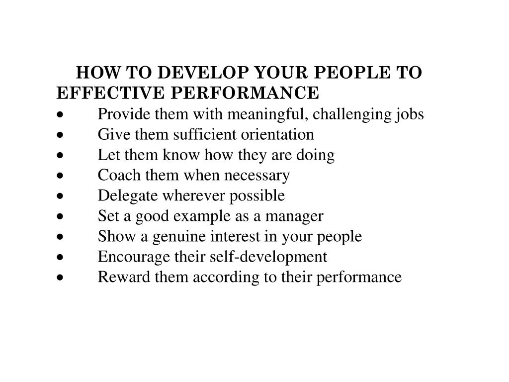 HOW TO DEVELOP YOUR PEOPLE TO