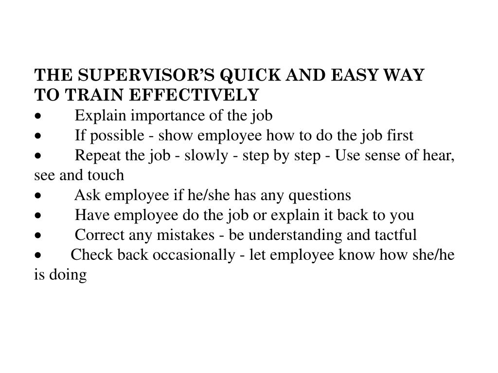 THE SUPERVISOR'S QUICK AND EASY WAY
