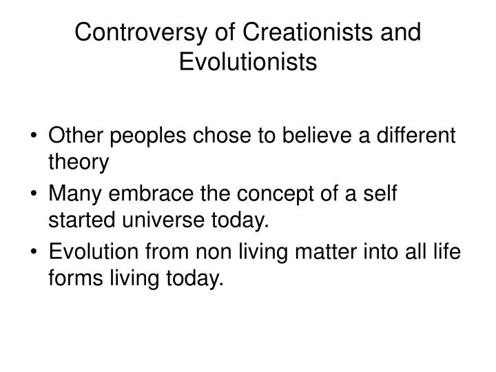 essay creationists and evolutionists In this essay i will compare the theory of creationism and the theory of evolution while there are many that deeply believe in each of these theories, they present stark differences in thinking, and in individual beliefs let us begin by looking at creationism this particular theory has not a single shred of evidence to [.