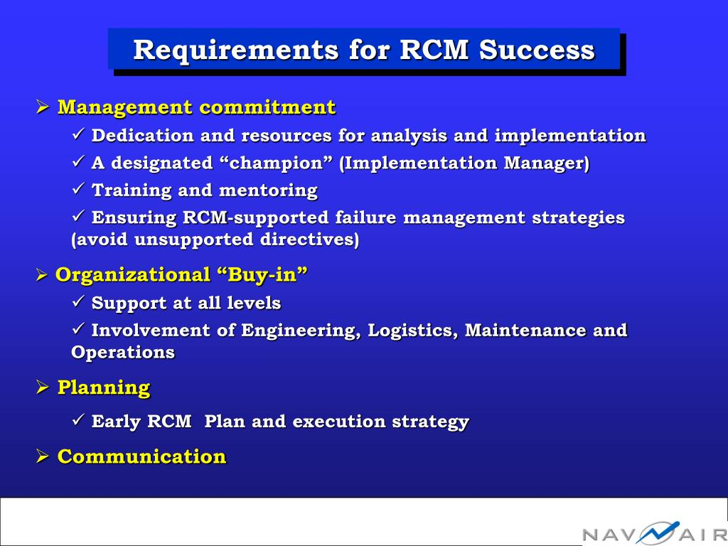 Requirements for RCM Success