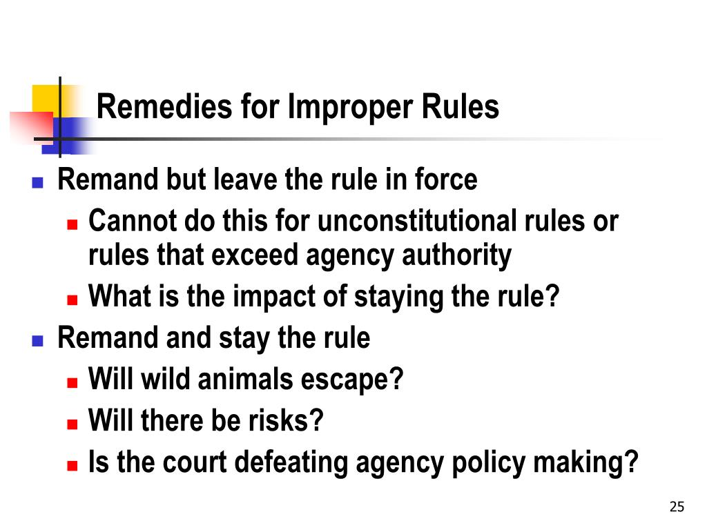 Remedies for Improper Rules