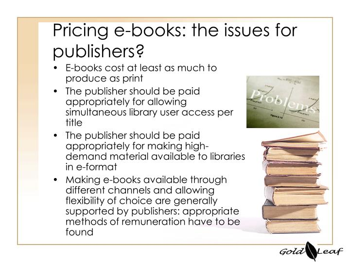 Pricing e books the issues for publishers