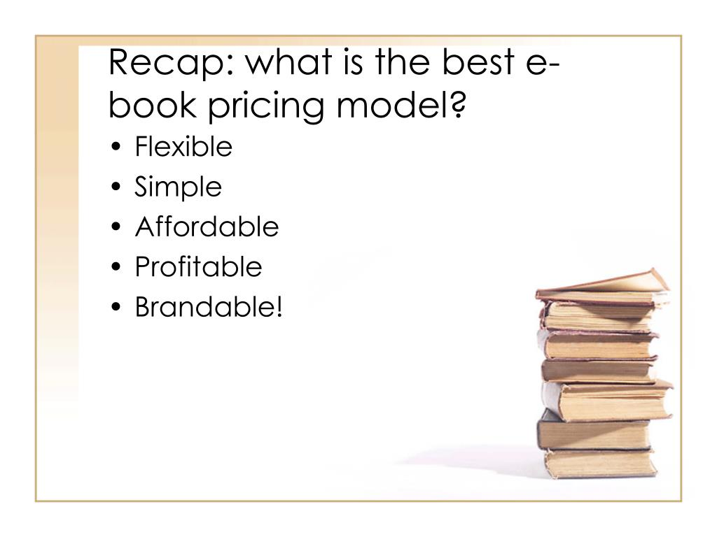 Recap: what is the best e-book pricing model?