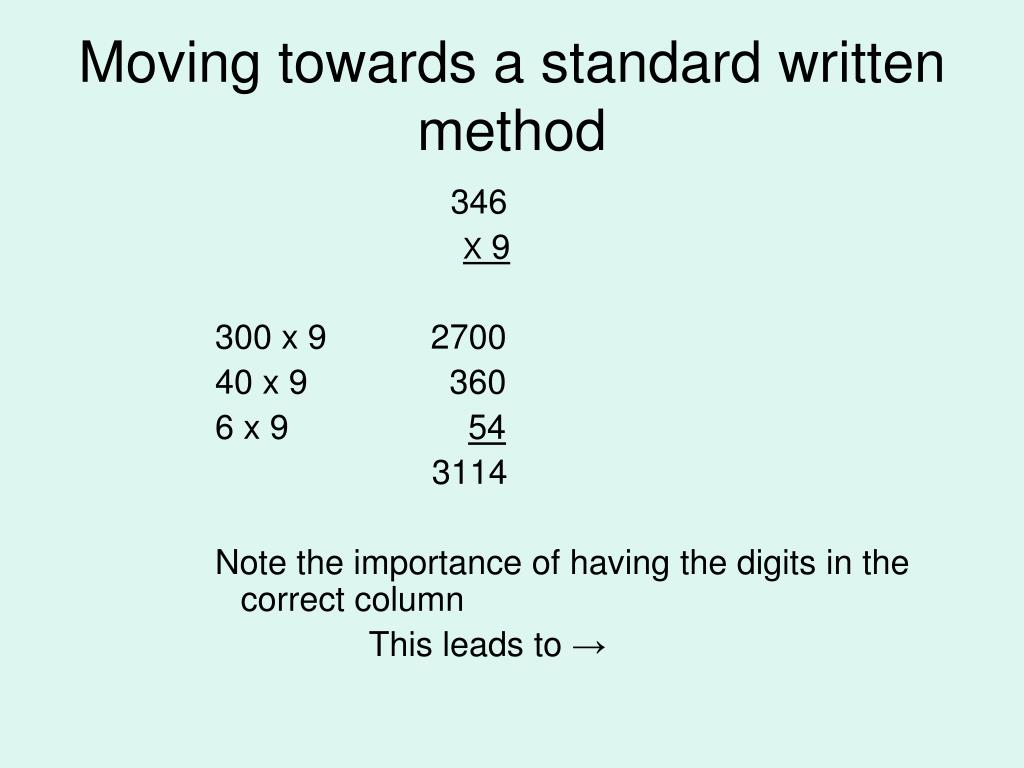 Moving towards a standard written method